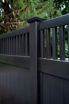 Illusions Black vinyl PVC privacy fencing panels will fill out your dream backyard. The shown style is the V3701-6. Its a 6 high privacy fencing panel shown in Grand Illusions Color Spectrum black. It also has a framed topper. Very cool looking fence. Good around pools as well.