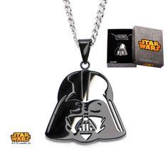 Stainless Steel IP Black Darth Vader Mirror Pendant with Chain. #jewelry #disney #starwars #darthvader #darkside