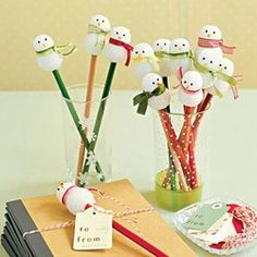 Make snowman pencils this Christmas with an idea from Martha Stewart.