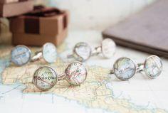 Manschettenknöpfe mit dem Landkartemotiv