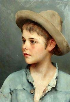 His New Hat, Eugene von Blaas (1843-1931, Italian -born Austrian)