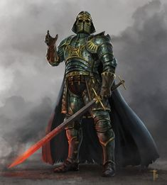 Medieval Star Wars - Created by Jens Kuczwara Medieval Armor, Medieval Fantasy, Dark Paladin, Dungeons And Dragons Memes, 8 Bits, Character Portraits, Character Art, Character Design, Character Ideas
