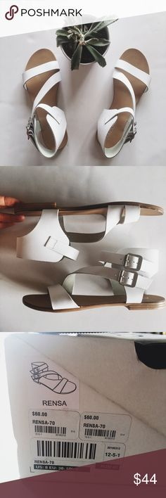 Aldo Rensa Buckle Sandals Never worn. Crisp white color. Will ship with box. This will be a staple for spring and summer! Aldo Shoes Sandals