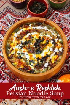 Afghan Food Recipes, Soup Recipes, Vegan Recipes, Cooking Recipes, Dessert Recipes, Iranian Dishes, Iranian Cuisine, Ash Reshteh Recipe, Amigurumi