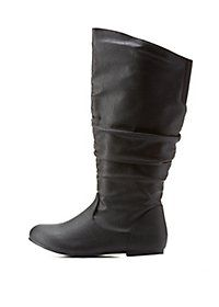 WIDE FIT Flat Ruched Mid-Calf Boots