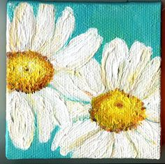 Shasta Daisies Painting close up on Turquoise by SharonFosterArt, $22.00