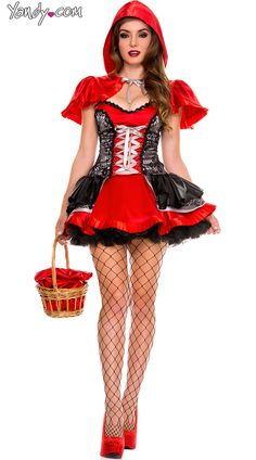 Fiery Lil Red Costume, Sexy Little Red Halloween Costume, Adult Red Riding Hood Costume
