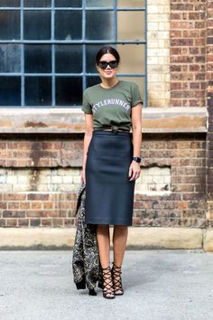 +-+Elevate+a+casual+tee+with+a+pencil+skirt+and+animal-print+jacket.