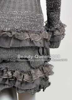 LACE RUFFLE Cardigan LONG Sweater Dress Coat UK 8/10/12