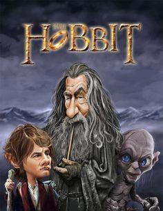 Martin Freeman, Ian McKellen, and Andy Serkis in The Hobbit by Rich Conley Caricatures