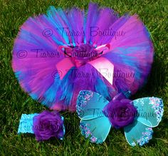 Baby Tutu Fairy Wings Costume - Berry Fairy Tutu Set - Sewn 6'' Tutu Wings & Headband - Purple Pink Blue - sizes newborn to 12 months. $40.00, via Etsy.