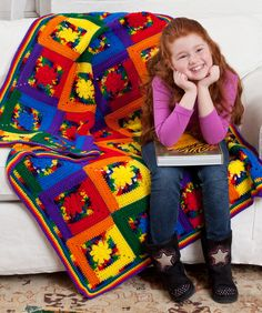 Kids Cabin Throw by Red Heart.  Love all the fun colors in this one.