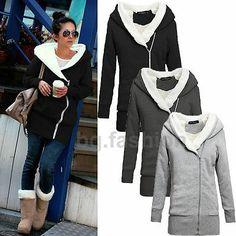 Long Sleeve Hooded Coat Sweater Outwear Sweatshirt Front Zipper Tops Plus 5Size | eBay