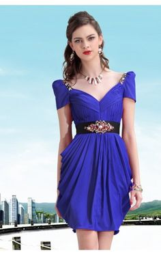 Best A-line Short V-neck Royal Blue Satin Dress