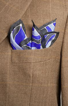 Hand Painted Silk  Mens Pocket Square Abstract Line by LigaKandele