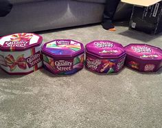 This photograph claims to show how Nestle has slimmed down the size of its tins of Quality Street chocolates three times since 1998. Pictured far right, the most recent 780g tub, which was introduced last year