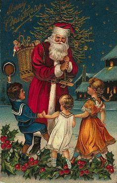 Vintage Santa & Kids Postcard ~ Magic Moonlight Free Images