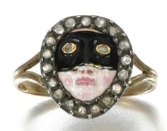 enamel and diamond carnival mask ring from 1800's
