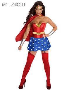 Moonightスーパーガール女性ワンダーウーマンの衣装ファンシードレス女性ハロウィンからの顧客ブルー女性コスプレスーパーガール衣装