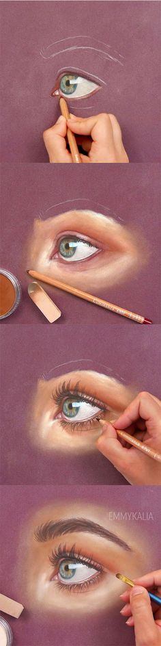 How to paint a realistic eye with panpastel and colored pencils!