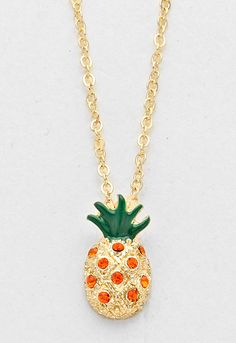 Rhinestone Pineapple Pendant Necklace - Gold