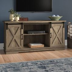 Arms Rustic Tv Stand, Living Room Tv, Solid Wood Tv Stand, Barn Style Doors, Living Room Sets, Furniture, Laurel Foundry Modern Farmhouse, Adjustable Shelving, Coffee Table