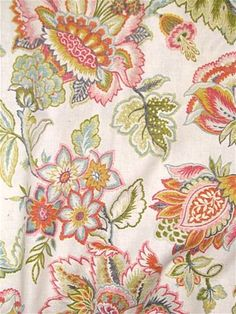 Tremezzo 382 Summer: Jacobean floral print fabric for curtain fabric or upholstery fabric from Covington Fabric NY. Decorator fabric by the yard. Floral Print Fabric, Floral Prints, Covington Fabric, Dining Room Wallpaper, Orange Home Decor, Hand Embroidery Tutorial, Antique Chairs, Jacobean, Home Decor Fabric