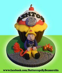 Fireman Sam giant cupcake by Bezmerelda Fireman Sam Cake, Giant Cupcakes, Sam Sam, Cakes For Boys, No Bake Treats, How To Make Cake, 3rd Birthday, Birthdays, Christmas Ornaments