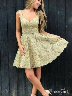 77789d5ea0b A-line V-neck Mini Gold Lace Homecoming Dresses Cute Homecoming Dresses  2018
