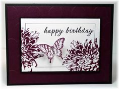 The card - flower and butterfly are from SU, sentiment is from Papertrey Ink. The images are stamped with blackberry on...