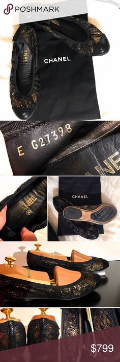 37.5 Chanel Spirit Stretch Ballerina Flats Shoes 100000% AUTHENTIC Black gold lace Chanel cap-toe flats & lizard trim, CC embellishment at sides. Includes dust bag  37.5 EU❤️I'm normally 38-38.5 in LOUBS  💗STRETCHY & I was able to drop 1/2 size Comfy, classically timeless, stunning  Condition: Excellent -Light creasing @insoles Light wear @ sole -Worn only a few times  💗look @ closet for deals -NO RETURNS -KNOW YOUR DESIGNER SHOE SIZE -ask Q's💲FIRM🚫BUNDLE 🎥I record boxing/shipping... so…
