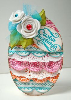 I love the egg shape of, and fantastic layer on, this vibrantly hued Easter card. #card #Easter #egg #scrapbooking #paper #crafting #crafts