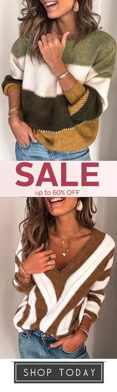 bought, Stripe Plus Size Women's Autumn Sweaters Fall Sweaters, Things To Buy, Plus Size Women, Crochet Hats, Autumn, Warm, Health, How To Wear, Clothes