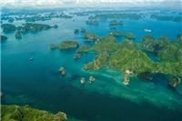 Aerial view over Halong Bay from seaplane