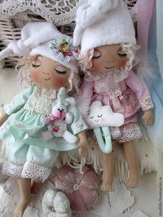 Купить Ангелы - сони - мятный, ангел, ангелочек, ангелы, сон, сонный ангел, соня, сонный