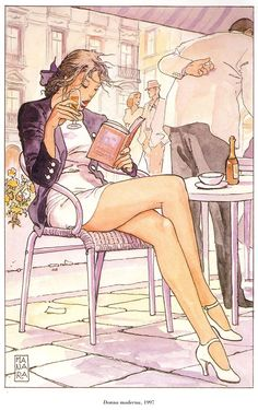 Donna moderna (1997). Maurilio Manara (known professionally as Milo Manara).  Manara (Italian, born 1945) is a comic book writer and artist, best known for producing comics that revolve around elegant, beautiful women caught up in unlikely and fantastical erotic scenarios.
