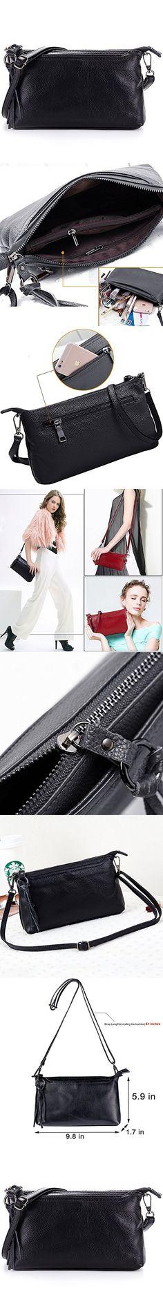 Lecxci Womens Real Leather Smartphone Crossbody Bag, Zipper Clutch Wallet Purse for Women Teen Girls (Black)