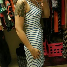Blue & White Striped Dress Blue &White Striped Dress. Made by Old Navy. XS. Brand new.  Has never been worn except for in this picture. In excellent condition.  No damages to it at all. Old Navy Dresses Midi