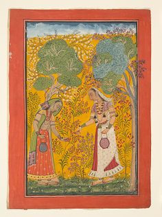 Vasanti Ragini, Wife of Hindol Raga; Folio from a Ragamala (Garland of Musical Modes) series, ca.1710. India. The Metropolitan Museum of Art, New York. Cynthia Hazen Polsky and Leon B. Polsky Fund, 2006 (2006.5) #spring