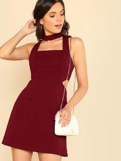 152ce69ce Cut Out Side Fit Flare Dress Burgundy Square Collar Sleeveless Zipper Plain Short  Dress Women Sexy Party Dress. SHEIN