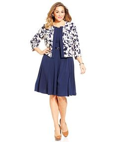 Jessica Howard Plus Size Floral-Print Dress and Jacket
