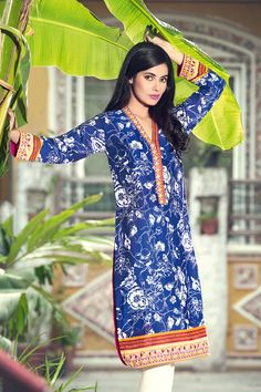 Gul ahmed shirt only  Ink Blue Printed Lawn SL-219