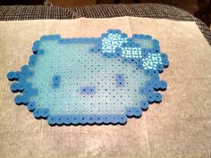 Blue Glow Hello Kitty perler beads by  skillet
