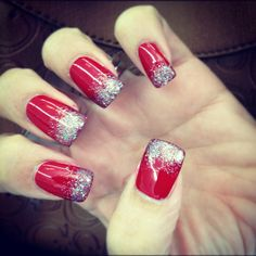 Holiday red sparkle #nails