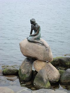 The famous Little Mermaid statue in Copenhagen harbor, Denmark by Kurt Eddy on Flickr.