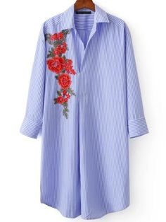 #AdoreWe #SheIn Blouses - SheIn Blue Vertical Striped Flower Embroidery Curved Hem Blouse - AdoreWe.com