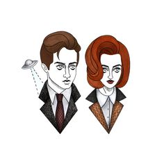 Mulder and Scully 8x10 Print by bunnymiele on Etsy