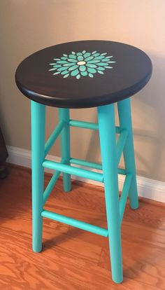 Stenciled bar stool painted with the color Azure from Fusion Mineral Paint then sealed with General Finishes High Performance Flat top coat. Funky Painted Furniture, Paint Furniture, Repurposed Furniture, Furniture Projects, Art Projects, Painted Bar Stools, Painted Chairs, Painted Wood, Stool Makeover