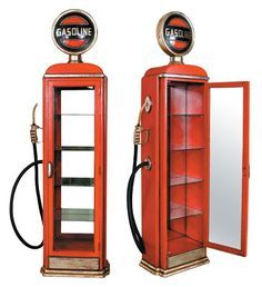 Gas Pump Cabinet gas pump shelf,, so cool to hold all your small collectibles. Car Furniture, Automotive Furniture, Automotive Decor, Metal Furniture, Automotive Group, Automotive Tools, Old Gas Pumps, Vintage Gas Pumps, Cool Ideas