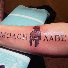 Sparta Warrior Molon Labe Mens Tattoo On Forearm Word Tattoos, Forearm Tattoos, New Tattoos, Tattoos For Guys, Sleeve Tattoos, Tatoos, Faith Tattoos, Quote Tattoos, Music Tattoos